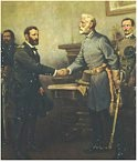 Confederate General Robert E. Lee surrenders to Union General Ulysses S. Grant