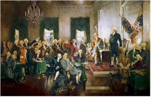 Delegates sign the Constitution as Washington presides