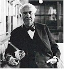 Inventor Thomas Edison and his lamp