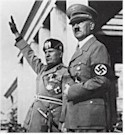 Italian duce Benito Mussolini and German führer Adolf Hitler