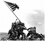 Marines hoist flag over Iwo Jima