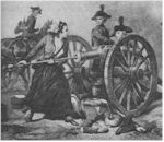 "Mary Ludwig ""Molly Pitcher"" Hays crews a gun with her fallen husband at her feet"