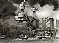 Battleship row aflame after Jap attack