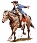 Paul Revere on his mount.